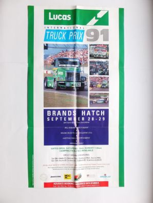 "BRANDS HATCH 1991 TRUCK SUPERPRIX Sept 29 . original Poster 14 x 27""(360 x 690mm)"